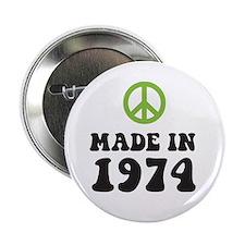Made In 1974 Peace Symbol Button
