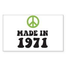 Made In 1971 Peace Symbol Rectangle Decal