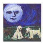 Wheatens w smiling moon Tile Coaster