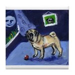 Pug sees smiling moon Tile Coaster