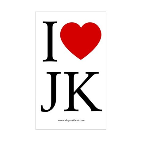 I (heart) JK. Rectangle Sticker