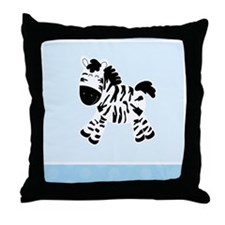 Cute Zebra with Blue Dots Throw Pillow
