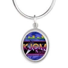 KJEM Radio EQ Blue Logo playi Silver Oval Necklace