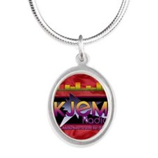 KJEM Radio EQ Red Logo playin Silver Oval Necklace