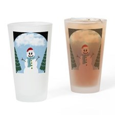 Cartoony Christmas Snowman Drinking Glass