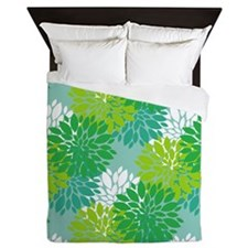 Aqua and Green Peonies Queen Duvet