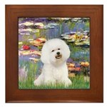 Llies & Bichon Framed Tile