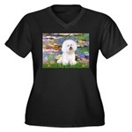 Llies & Bichon Women's Plus Size V-Neck Dark T-Shi