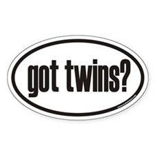 got twins? Euro Oval Stickers