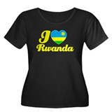 I love Rwanda Women's Plus Size Scoop Neck Dark T-