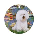 Llies & Bichon Ornament (Round)