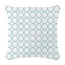 Turquoise Quatrefoil Woven Throw Pillow