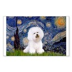 Starry Night Bichon Sticker (Rectangle)