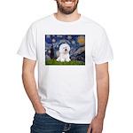 Starry Night Bichon White T-Shirt