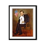 Lincoln & his Bichon Framed Panel Print