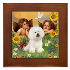 Angels/Bichon Frise Framed Tile