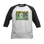 Irises and Bichon Kids Baseball Jersey