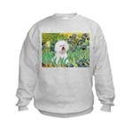 Irises and Bichon Kids Sweatshirt