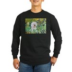 Irises and Bichon Long Sleeve Dark T-Shirt