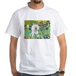 Irises and Bichon White T-Shirt