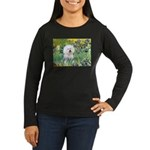 Irises and Bichon Women's Long Sleeve Dark T-Shirt