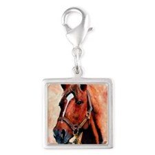 Triple Crown Silver Square Charm