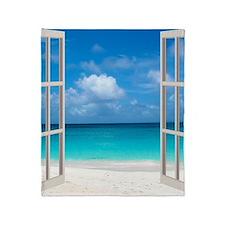 Tropical Beach View Through Window Throw Blanket