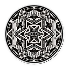 Between Worlds Mandala Round Car Magnet