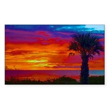 Painted Sunset Sky With Palm T Decal