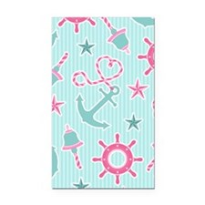 Cute Girly Nautical Print Aqu Rectangle Car Magnet