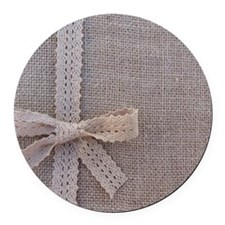 Vintage Country Burlap Lace Bow Round Car Magnet