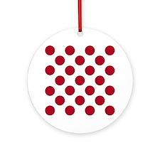 Polka Dots Sq W Red Round Ornament