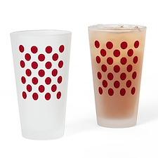 Polka Dots Sq W Red Drinking Glass