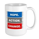 "Obama Slogan ""Hope Action Change"" Mug"