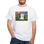 Lilies 4 / Bichon 1 White T-Shirt