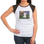 Lilies 4 / Bichon 1 Women's Cap Sleeve T-Shirt
