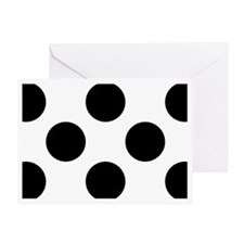 Black and White Big Polka Dots Greeting Card
