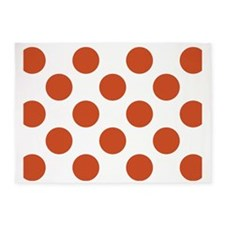 Big Polka Dots Placemat W Orange 5'x7'Area Rug