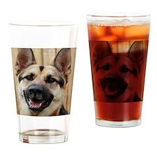 big dog german shepherd face Drinking Glass