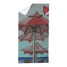 Red Umbrellas Beach Towel