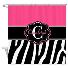 Pink Zebra Personalized Shower Curtain