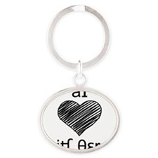 I heart Speech Therapy - black Oval Keychain