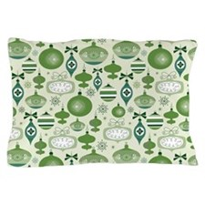 Green Retro Christmas Ornaments Pillow Case