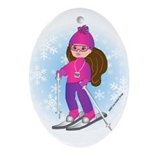 Ski Girl (brunette) Oval Ornament