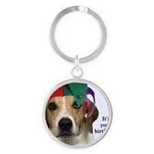 Beagle Birthday Card Round Keychain