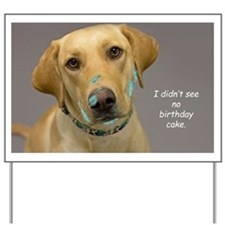 Yellow Lab Cake Face Birthday Yard Sign