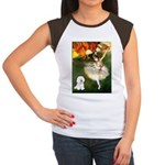 Ballet Dancer & Bichon Women's Cap Sleeve T-Shirt