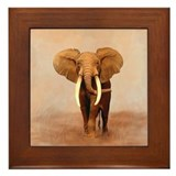 Painted Elephant Framed Tile