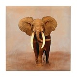 Painted Elephant Tile Coaster