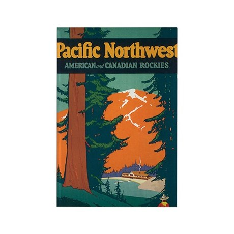 Pacific Northwest Rockies Travel Rectangle Magnet